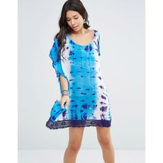 Gypsy 05 Tie Dye Boxy Oversized Dress ($42) ❤ liked on Polyvore featuring dresses, blue, blue dress, woven dress, tie die dress, blue tie dye dress and lacy dress