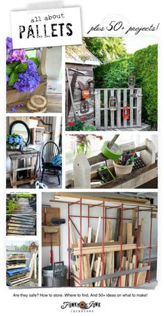 All about Pallets! Are they safe? Where to find... and 50+ ideas on what to make! via FunkyJunkInteriors.net