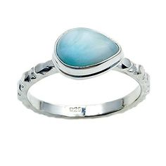 Sterling Silver Natural Dominican Larimar Stacking Ring, Size 8.5  Price : $34.95 http://www.silverplazajewelry.com/Sterling-Silver-Natural-Dominican-Stacking/dp/B00XMB76W4
