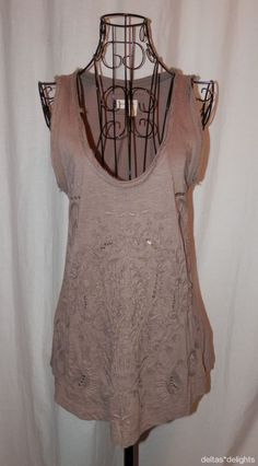 MEADOW RUE TOP S Small Taupe Brown Tank Soutache Hippie Boho ANTHROPOLOGIE #MeadowRue #TankCami #Casual