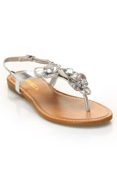 Rck Bella Ava Flat Sandal With Stones In Silver - Beyond the Rack