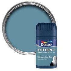 Kitchen And Bathroom Paint, Dulux Paint Colours Blue, Dulux Feature Wall, Fossil, Colour Guard, Paint Color Chart, Hallway Decorating