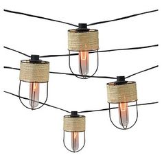 10ct Decorative String Lights-String Wrapped Metal Cage Cover with Edison Bulb - Smith