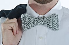 #Chainmail Bow Tie Silver by MarcisChainDesigns on Etsy #chainmaille
