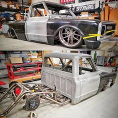 Got Fab - Bad ass Chevrolet C10 under construction by @overkillracingandchassis for @sparks_motors and @heavydsparks , how is that chassis work igers? #chevrolet #gmc #c10 #airsuspension #bagged #stance #layframe #streettruck #streetmachine...