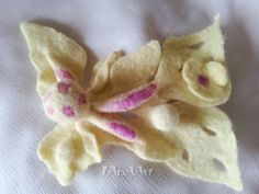 Yellow Fairy of flowers - handmade felted brooch - scarf pin fastener - lemon yellow and pink - shibori technique - unique, one of a kind by LanAArt on Etsy