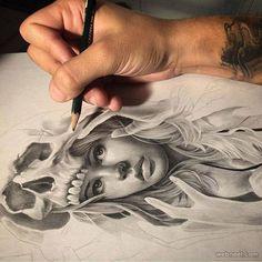 Woman pencil drawing by davidgarciatattoo http://webneel.com/creative-funny-art | Design Inspiration http://webneel.com | Follow us www.pinterest.com/webneel