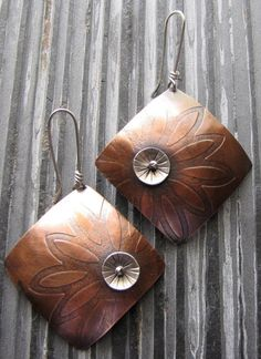 Copper Chysanthemum Mixed Metal Earrings with Sterling Silver.