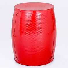 Pompeian Red Metal Accent Stool | Outdoor and Patio Furniture| Furniture | World Market