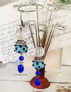 pop dots dangle OOAK lamp work dottie beads dangle blue by Arey, $14.00