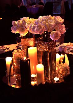 Luscious black and white floral centerpieces