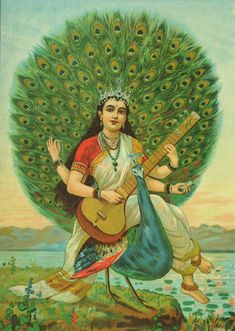 Sarasvathi is the goddess of music/art/knowledge. Peacocks also cool.