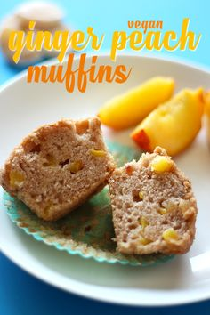 These vegan ginger peach muffins are to die for! The sweetness of peach and spice of ginger come together in these easy, 1 bowl, supremely delicious muffins!