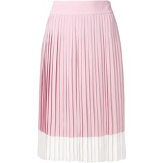 Jil Sander Navy pleated midi skirt featuring polyvore, women's fashion, clothing, skirts, pleated skirt, pink skirt, mid-calf skirt, pink midi skirt and calf length skirts