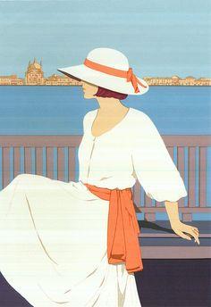 """ALDO ANDREOLO serigrafia """"Sotto il cielo di Venezia"""" - Esemplare n. 8/120"""