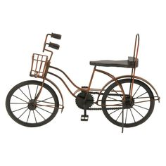DecMode Metal and Wood Banana Seat Bicycle Sculpture - 24365