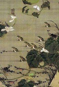 Detail of frogs. 池辺群虫図 Ikebe Gunchu-zu(Insects at a Pond). Ito Jakuchu. Japanese hanging scroll. Eighteenth century. 動植綵絵 Doshoku Sai-e, 第2期 part2 (1761-1765)