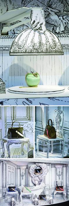 contradiction entre le fictif (dessin) et la réalité ( les accessoires exposés)  jeu sur le 2D et 3D, la profondeur et l'espace