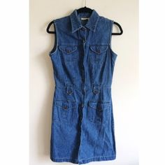 Vintage 90s Denim Dress Super adorable vintage jean dress from the 90s! Buttons all the way up. I purchased from a fellow posher and its just a little big on me Fits like a small/medium and I need an XS/S. I love it, I wish it fit!!! Vintage Dresses