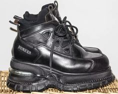 e8be10fb3809 Rare vintage 90s cyber goth punk mega platforms BUNKER laceup sporty  athletic trainers sneakers boots black stacked chunky