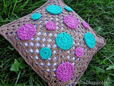 Polk Dot Pillow (with link to free crochet pattern)