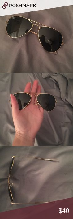 Ray ban aviators!!! Petite ray ban aviators. Would fit anyone but especially those with a smaller face. Has some scratches on the lenses. Besides that in good condition. Ray-Ban Accessories Sunglasses