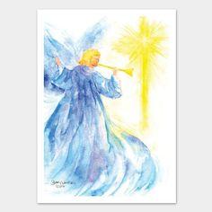 Angel and Star Watercolor Christmas Card Set