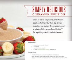 Yummy yogurt dip for fruit or anything you want to dip! Cinnamon Fruit Dip Recipe with Young Living's Cinnamon Bark Vitality Essential Oil. Great for a fall party or a healthy after school snack! Fall Essential Oils, Cooking With Essential Oils, Cinnamon Essential Oil, Young Living Essential Oils, Dip Recipes, Cooking Recipes, Young Living Oils, Yummy Yogurt, Essential Oils