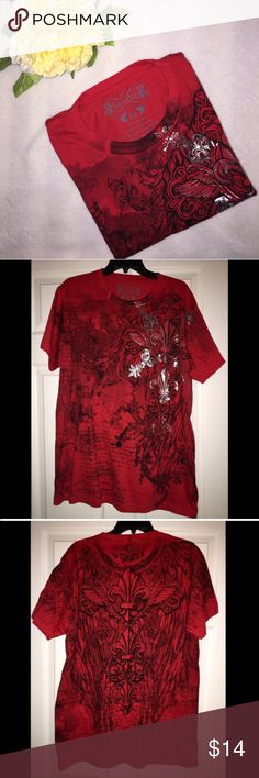 Men's design t-shirt Men's black/red shirt by Konflict. 100% Cotton. Super soft material. Lightweight, great for any season! Worn once. No flaws! EUC. Size:XL Shirts Tees - Short Sleeve