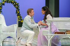 """Austin Caldwell (Algernon Moncrieff) and Jessica Waldman (Cecily Cardew) in SST's production of Oscar Wilde's """"The Importance of Being Earnest"""". Photo by Stefanie Okuda."""