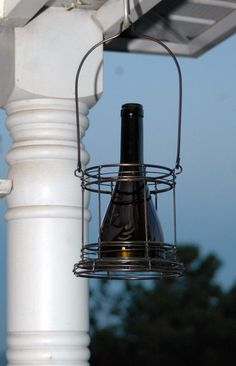 Wine Bottle Hurricane in a Hanging Metal Basket by TheWineThief, $20.00
