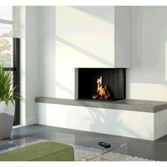 De #KombiFire Original Corner is een authentieke hoekhaard waar u vanaf de zijkant sfeervol naar het vuurbeeld kunt kijken. De KombiFire is de enige haard die zowel op hout en gas kan branden. #Gaskachel #Gashaard #Houtkachel #Houthaard #Kampen #Fireplace #Fireplaces #Interieur Home Fireplace, Fireplaces, Gas Fires, Corner Designs, Hearth, New Homes, The Originals, House, Inspiration