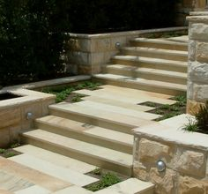 Sandstone step treads and sandstone pavers More