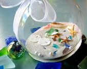 Beach Decor Seashell Christmas Ornament - Nautical Decor Sea Glass & Shell Ornament Ball