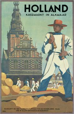 An old poster for the Alkmaar Cheese Market.