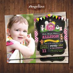 Farm Birthday Invitation Pink. Old McDonald by AngelinaWorks