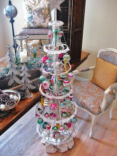 The same vintage lamp shade Christmas tree all gussied up!