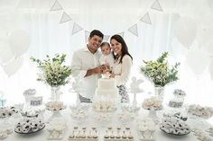 Dessert Table + Guest of Honor & Parents from an Elegant White Baptism Dessert Table via Kara's Party Ideas | http://KarasPartyIdeas.com (9)