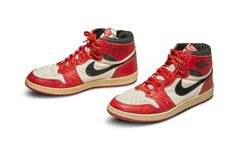 A pair of Jordan's game-worn and autographed Nike Air Jordan sneakers made for basketball legend Michael Jordan early in his career with the Chicago Bulls from 1985 are hitting the auction at Sotheby's. Jordan 1, Jordan Ones, Zapatos Air Jordan, Air Jordan Sneakers, Jordans Sneakers, Chicago Bulls, First Air Jordans, Nike Air Jordans, Most Expensive Sneakers