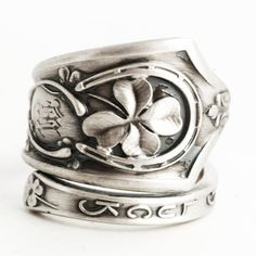 Lucky Four Leaf Clover Ring, Sterling Silver Spoon Ring, Good Luck Ring, Silver Shamrock 4 Leaf Clover, Irish Jewelry, Adjustable Ring, 6292 by Spoonier on Etsy