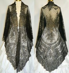 Dreaming of a gorgeous shawl to add a glorious touch to my outfits! Vintage Victorian Civil War Antique Black Chantilly Lace Mantilla Spanish Shawl | eBay