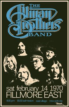 Allman Brothers Band 1970 Tour Poster