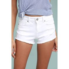 Lulus  My Mini White Distressed Denim Shorts ($34) ❤ liked on Polyvore featuring shorts, white, torn shorts, lulu shorts, ripped shorts, frayed shorts and low rise white shorts
