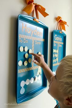 Cookie Sheet chore charts for kids. Cheap and easy to make!