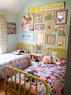 I really like the painted Jenny Lind beds, quilts and pops of yellow!