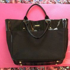 Versace Parfums Tote Versace Parfums Tote. Black Patent and Mesh Fabric. Seldom Used. Good Condition. Open To Offers! Versace  Bags Totes