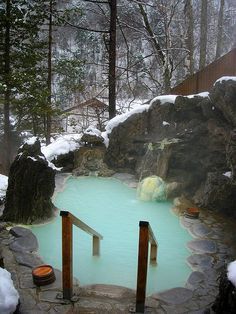 Shirahone Onsen 'White Bone' Onsen (hot spring), named for the milky blue white minerals that make this water opaque. Wouldn't this be a delightful place to soak before bed? All that would be required is a trip to Japan.