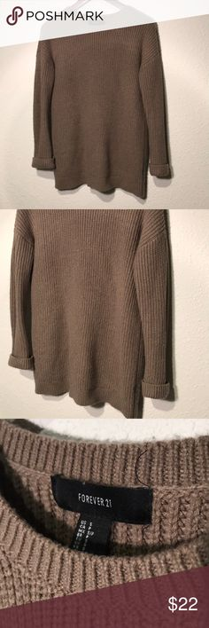 Thick soft knit long taupe sweater Thick soft longer sweater. Perfect condition. Pair able with ANYTHING. Cozy. Forever 21 Sweaters