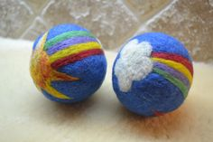 Made to Order. Wooly Rainbow Toy Ball. Jingle Bell inside. Waldorf Toy. Natural and eco friendly.