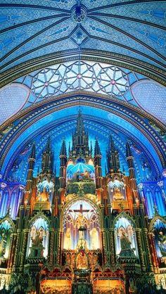 Notre Dame Basilica, in Montreal, Quebec, Canada.